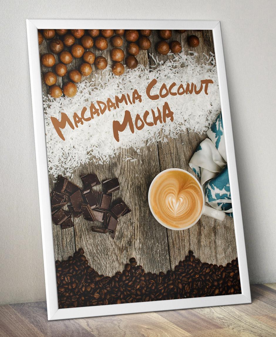 Fiddlers Coffee - Macadamia Coconut Mocha - poster design
