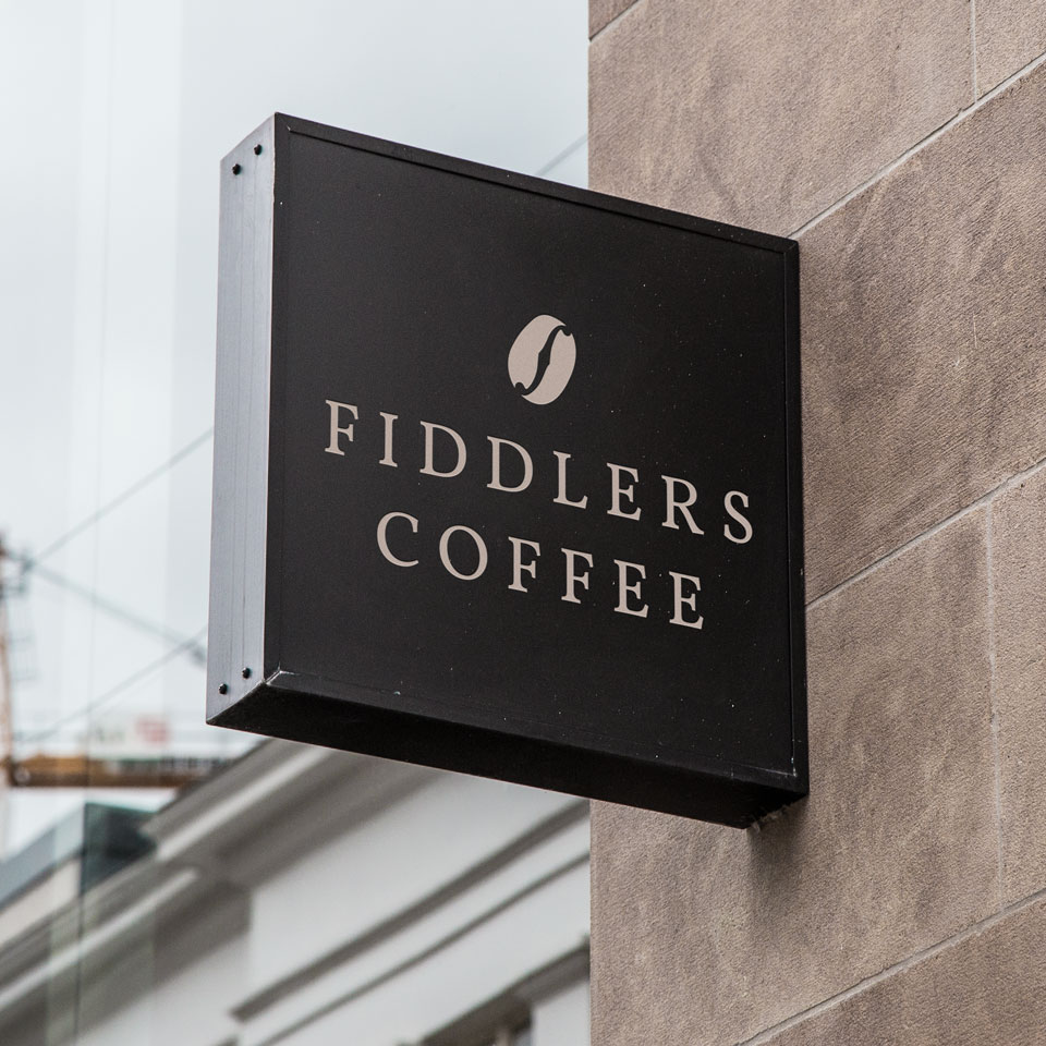 Fiddlers Coffee logo sign